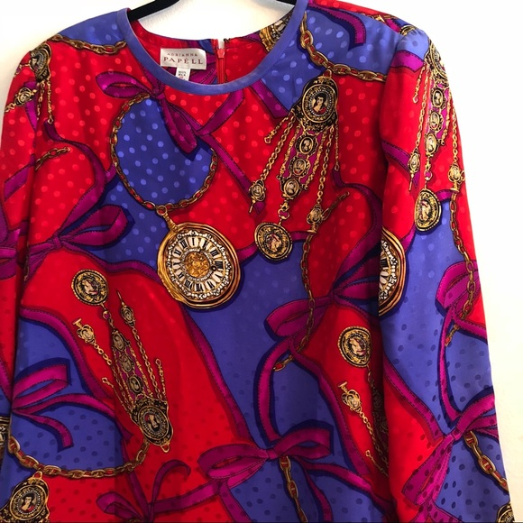 fcbc4be100faa Adrianna Papell Dresses   Skirts - Adriana Papell VTG silk print shift dress  size 16